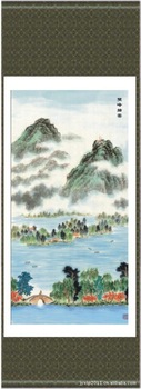 Hot sale High Quality 140*45 Chinese Silk Scroll Scenery Painting of ten attractions of West Lake SS31,Free shipping New arrival