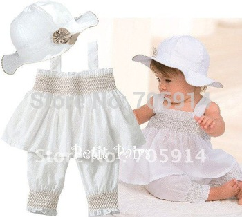 Free Shipment Fashion Baby Suits Hats+Skirt  4pcs/lot