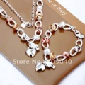Free Shipping/Fashion Jewelry Sets. 925 Sterling Silver Sets .Multicolour Love.Wholesale 925 Silver/Two piece Jewelry sets