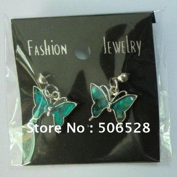 Free Shipping Wholesale Butterfly Earrings; Abalone Shell Earrings;