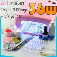 36W Pink UV Nail Art Dryer UV Lamp+UV Full Gel Set Free shipping