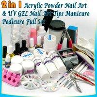 Acrylic Powder Nail Art UV GEL Nail Tips Manicure Pedicure Tool Kit Full Set Free shipping