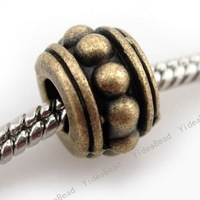 60 New Alloy Bronze Carved Dot Charms Bead Fit Bracelet Metal Diy Beads European Necklace Free Shipping 151023