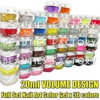 Free shipping FULL SET 20ml / 8oz. of 50PCS COLOR UV GEL NAIL ART