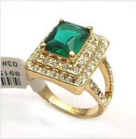 New Wholesale Hot Beautiful Jewellery 5.25ct Emerald 14k Solid White Gold Ring Diamand Rings free shipping