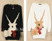 free shipping women's fashion round collar sweaters pullover outwear Christmas deer design cartoon