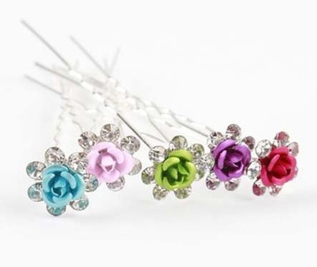 2012 Colorful 7.5cm  Women Flower Hair sticks for Hair clips & Color Random