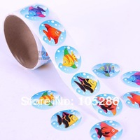 100pcs/Roll Tropical fish style Stickers Promotional Gifts adhesive stickers Labels Free shipping