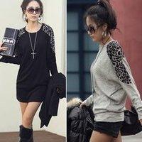 clothes women Leopard splicing elegant warm   Shirt dress #0578 fashion wholesale T-shirt
