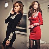 wholesale new  Autumn Sexy  V Lace collar Long sleeve fashion dress #0610 cheap dress