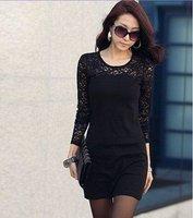 wholesale new  clothes Women Autumn lace stitchg  fashion dress #0621 cheap dress
