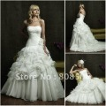 OL3053  Free Shipping  Floor Length Beaded  Ball Gown Organza  wedding Dress 2012