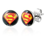 8mm super symbol logo ear stud earring surgical steel body jewelry CR