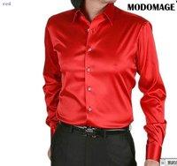 Casual shirt men's shirt  /silk men's  shirts  long sleeve grey color-red