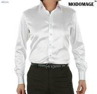 Casual shirt men's shirt  /silk men's  shirts  long sleeve grey color-white