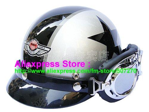 P.28 New ABS Half Bol Vespa Cycling Half Face Motorcycle Silver # Black Star Helmet Visor & Silver Goggles SIZE M , L , XL(China (Mainland))