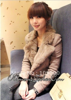 droping shipping new Fashion elegant fur collar autumn Korean version of slim short jacket women coat