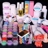 Free shipping Full UV Acrylic NAIL Primer 24 Powder Liquid KITS ART Brush Polish TIPS KIT 124