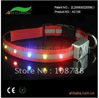 wholesale pet dog fashion classical collar leashes charm LED light chrismas gift party 50pcs/lot