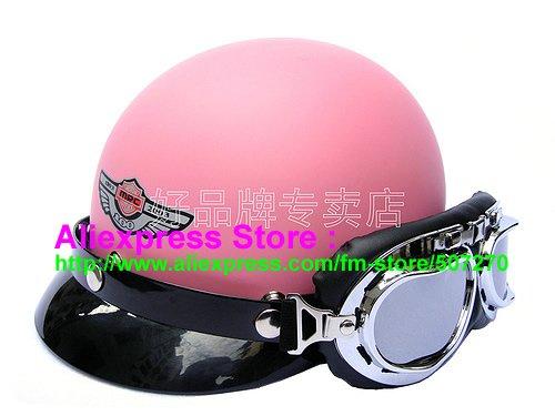 P.64 Fashion ABS Half Bol Vespa Cycling Half Face Motorcycle Matt Pink Helmet Casco Casque & Silver Goggles SIZE M , L , XL(China (Mainland))