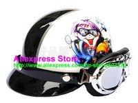 "P.97 New Half Bol Vespa Cycling Half Face Motorcycle "" Motor Boy "" White Helmet Visor & Silver Goggles SIZE M , L , XL"