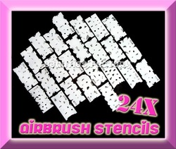 24 pcs / lot AIRBRUSH STENCILS Nail Art Paint Air Brush Tool #1654(China (Mainland))