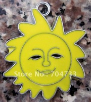 Free Shipping 100Pcs/Lots Zinc Alloy Metal  Enamel sunflower Charms Pendants 31*26mm