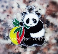 Free Shipping 100Pcs/Lots Zinc Alloy Metal  Enamel panda Charms Pendants 21*18mm