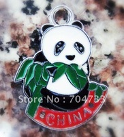 Free Shipping 100Pcs/Lots Zinc Alloy Metal  Enamel panda Charms Pendants 25*19mm
