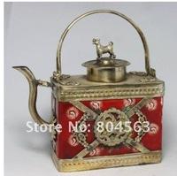 Chinese Porcelain Tibet Silver DOG Dragon Tea Pot