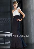 New Style ! Elegant Sheath One-shoulder Black and White Taffeta Nice Evening Dresses