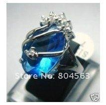 Beautiful blue crystal ring size 7.8.9 MM(China (Mainland))