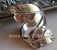 Free shipping, Vintage Style 2Colors Metal Alloy Two Leafs Opened Finger Ring Size #8 And Up