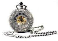 promotion  big size   double Roman numerals mechanical pocket watch,  size:45*45mm,chain length : 37.5cm