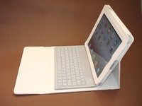 White Bluetooth Wireless Keyboard For iPad 2 + Leather Case