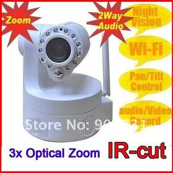 FREE SHIPPING  Wireless WIFI 3X optical Zoom IP Camera