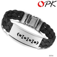 OPK FASHION JEWELRY hand woven rope  with stainless steel charm  tennis bracelet  for men wristband 754black