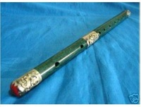 Brand New Hot rare Collectible Wonderful Chinese Tibet silver Nature Green Jade Flute Carved free shipping