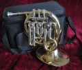 prof. Bb french horn mini pocket gold lacquer horn new with case mouthpiece