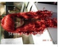 2010 New super Pretty long red wigs Percke  +cap gift
