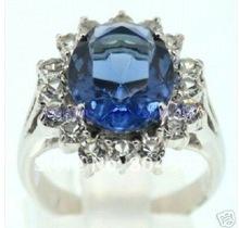 Women's jewelry charming blue ring Size:7-10#(China (Mainland))