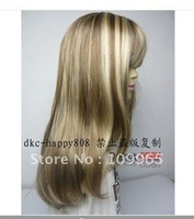 new BLONDE mix straight full wig+cap gift