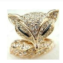 Crystals New Cool Clear Animal Fox Ring(China (Mainland))