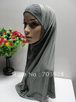 CV7741 Two Pieces Hijabs, Muslim Beaded hijiabs, Islamic Lady Head Cover with Diamond, Free Shipping, Accept Papel