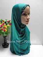 CV7750 Beaded Chiffon Hijabs, Muslim Shawls, Islamic Lady Scarves , Islamic Head Cover Free Shipping, Accept Papel