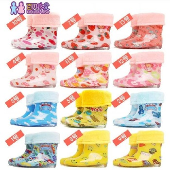 Free shipping 2012 hot sale kids Fashionable Removable cotton tank, winter and summer two ways to wear rain boots