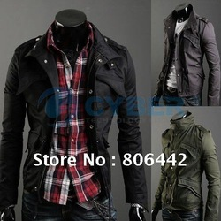 New Men&#39;s Fashion Casual Stylish Slim Fit Zip Jacket Coat 3 Colors 4 Sizes M~XXL Free Shipping(China (Mainland))