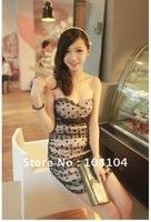 Free postage hot Sexy strapless dress, romantic polka dot dress chest wrapped dress(yu210)