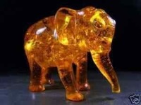 Rare Collectible amber carve elephant statue Free shipping