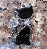 Free Shipping 100Pcs/Lots Zinc Alloy Metal  Enamel cat Charms Pendants alloy charms
